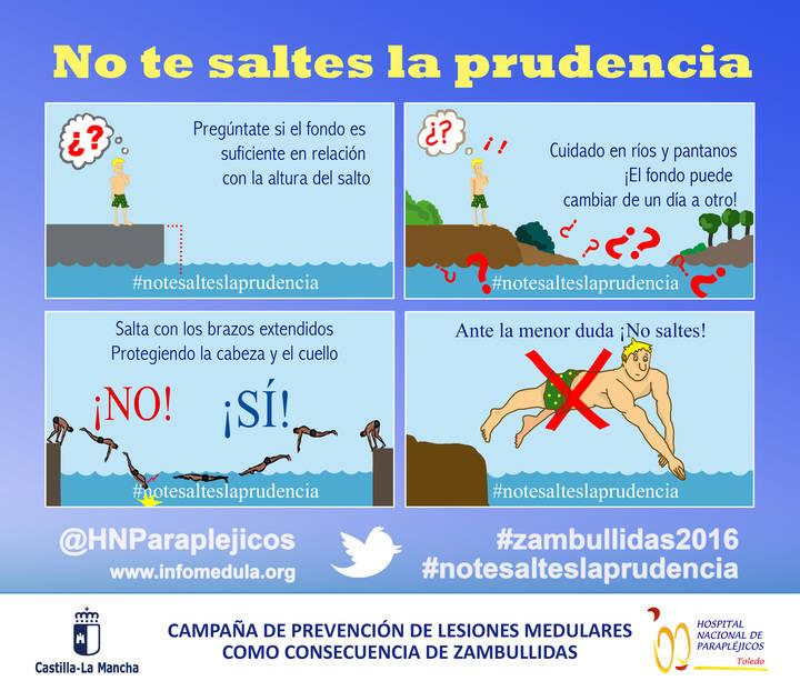 'No te saltes la prudencia', nuevo eslogan del Hospital Nacional de Parapléjicos para prevenir malas zambullidas