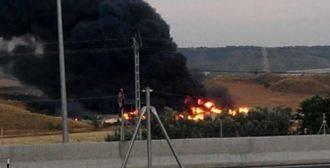 Incendio en la planta de reciclaje de neumáticos de Chiloeches