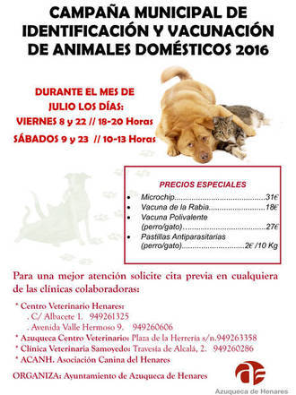 Este viernes, comienza la campaña anual de vacunación e identificación de mascotas en Azuqueca