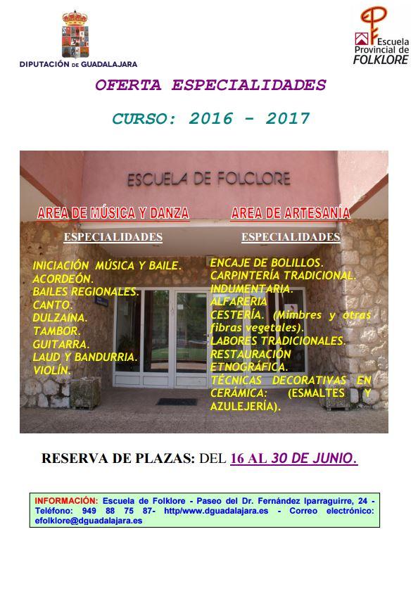 Este jueves se abre la reserva de plaza para el próximo curso en la Escuela de Folklore de la Diputación