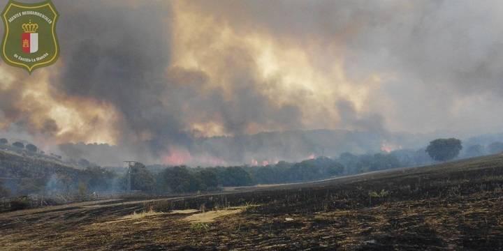 Extinguido el fuego que ha arrasado unas 350 hectáreas en Uceda