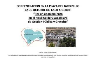 Manifestación el día 22 por un aparcamiento en el Hospital de Guadalajara de gestión pública y gratuito