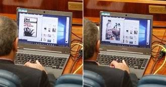 Pillan a un diputado socialista haciendo un 'meme' sobre Cristina Cifuentes en el debate del estado de Madrid
