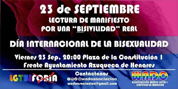 El Manifiesto del Día Internacional de la Bisexualidad se presentará y leerá en Azuqueca de Henares