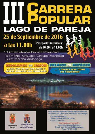 Este domingo, III Carrera Popular Lago de Pareja